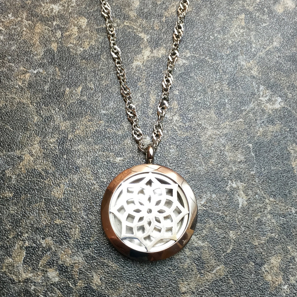 Diffuser Necklace - Lotus With Chain - Sunstone Holistic Health and Healing