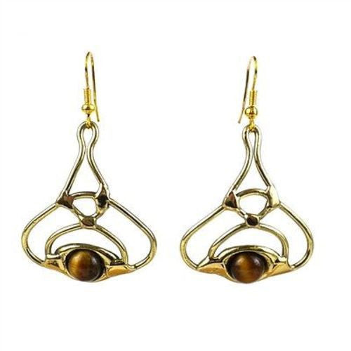 Golden Tiger Eye Bloom Brass Earrings - Brass Images (E) - Sunstone Holistic Health and Healing