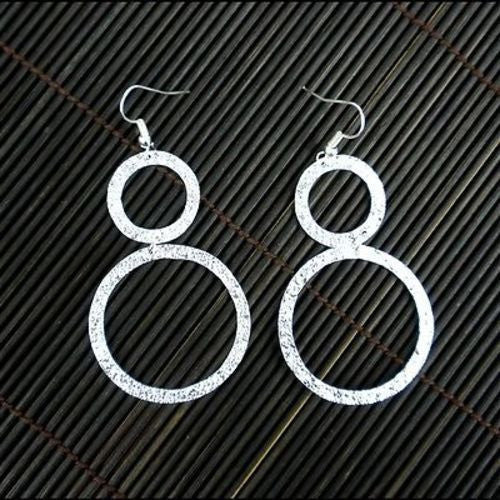 Large Silverplated Double Circle Earrings - Artisana - Sunstone Holistic Health and Healing