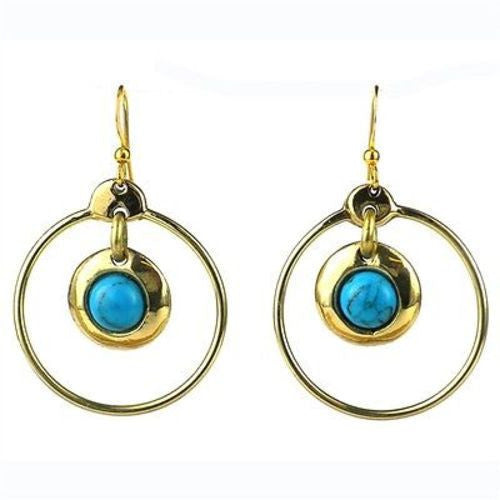 Encircled Turquoise Brass Earrings - Brass Images (E) - Sunstone Holistic Health and Healing
