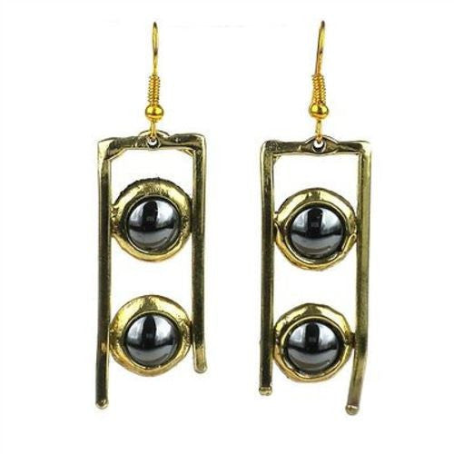 Hematite and Brass Ladder Earrings - Brass Images (E) - Sunstone Holistic Health and Healing