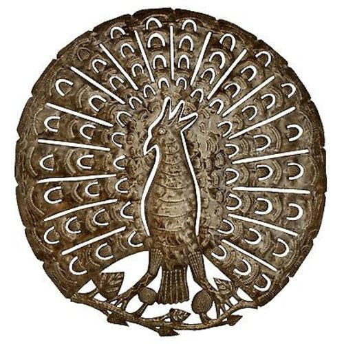 Peacock 24 Inch Metal Art - Croix des Bouquets - Sunstone Holistic Health and Healing
