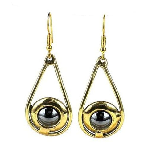 Shine On Hematite Earrings - Brass Images (E)