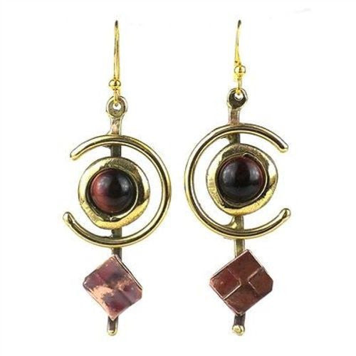 "Earthy Red Tiger Eye ""C"" Brass and Copper Earrings - Brass Images (E) - Sunstone Holistic Health and Healing"