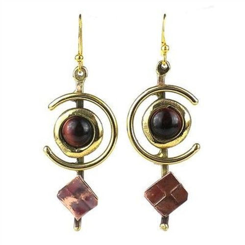 "Earthy Red Tiger Eye ""C"" Brass and Copper Earrings - Brass Images (E)"