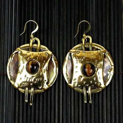 Tigers Eye Strength Earrings - Brass Images (E)