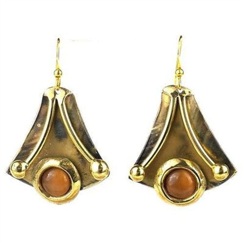 Reborn Peach Tiger Eye Brass Earrings - Brass Images (E) - Sunstone Holistic Health and Healing