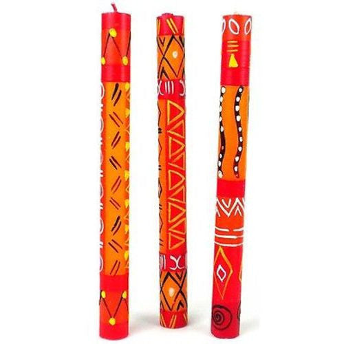 Set of Three Boxed Tall Hand-Painted Candles - Zahabu Design - Nobunto - Sunstone Holistic Health and Healing