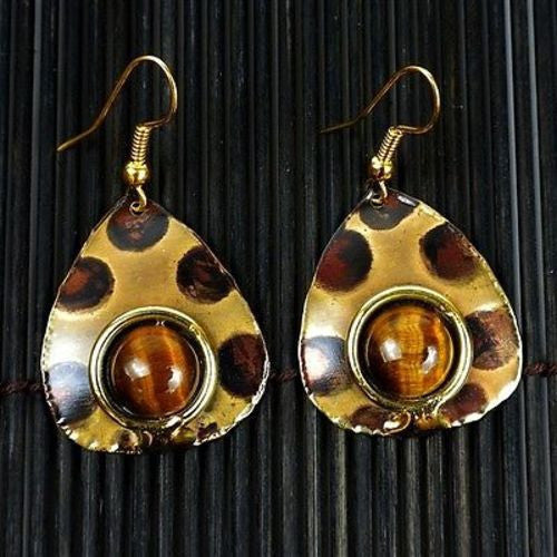 Tigers Eye Spotted Earrings - Brass Images (E)