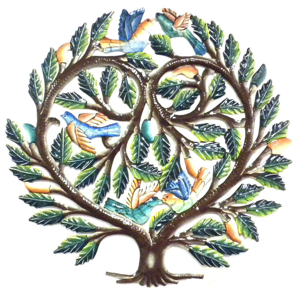 Painted Lovers Tree Metal Wall Art - Croix des Bouquets - Sunstone Holistic Health and Healing
