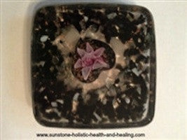 Black & Pink Flower Coaster - Sunstone Holistic Health and Healing