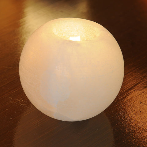 White Himalayan Salt Candle Holder