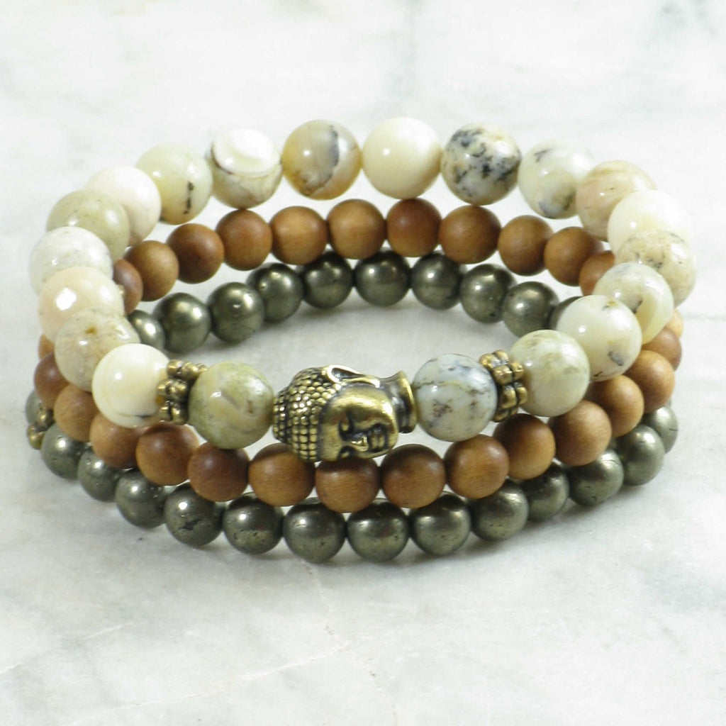 Golden Buddha Mala Beads Stack - Sunstone Holistic Health and Healing