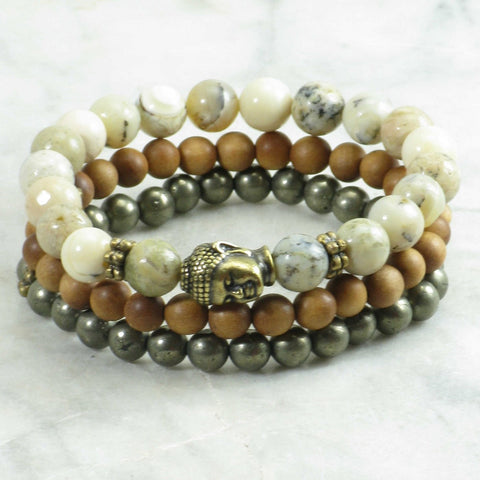 Golden Buddha Mala Beads Stack