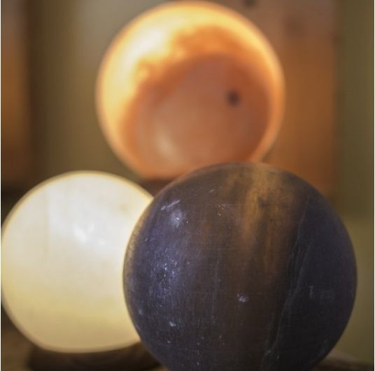 Grey Globe Himalayan Salt Lamp - Sunstone Holistic Health and Healing