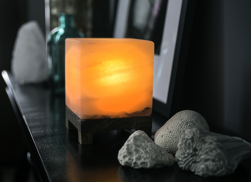 Cube Amber Salt Lamp - Sunstone Holistic Health and Healing