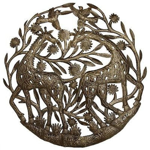Giraffes Metal Wall Art