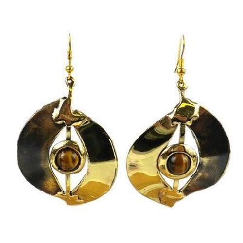 Tiger Eye Almond Brass Earrings - Brass Images (E)