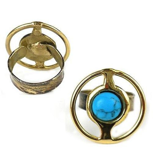 Encircled Turquoise Brass Ring - Brass Images (O)