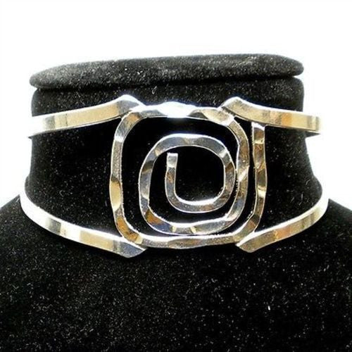 Silver Overlay Hammered Rectangular Spiral Cuff Bracelet - Artisana - Sunstone Holistic Health and Healing
