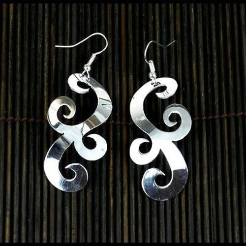 Large Silverplated Scrollwork Earrings - Artisana - Sunstone Holistic Health and Healing