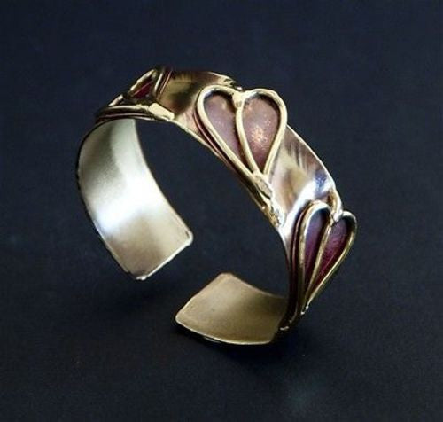 Three Hearts Cuff - Brass Images (C) - Sunstone Holistic Health and Healing