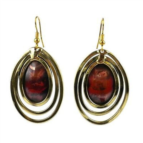 Mirror Mirror Copper and Brass Earrings - Brass Images (E) - Sunstone Holistic Health and Healing