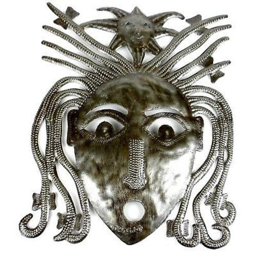Haitian Steel Drum Dreadlock Face 10 inch Wall Art - Croix des Bouquets - Sunstone Holistic Health and Healing