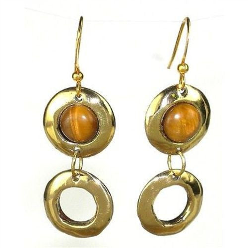 Tiger's Eye Doubles Earrings - Brass Images (E) - Sunstone Holistic Health and Healing