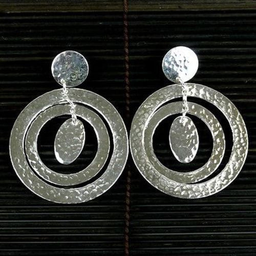 Large Silverplated Concentric Circles Post Earrings - Artisana - Sunstone Holistic Health and Healing