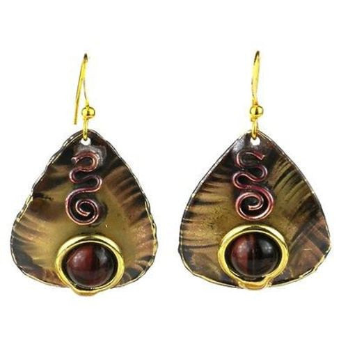 Earthy Red Tiger Eye Guitar Pick Brass Earrings - Brass Images (E) - Sunstone Holistic Health and Healing