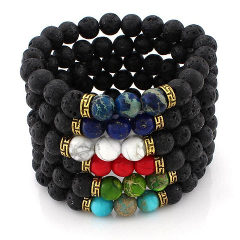 Lava Rock Beads Bracelet with Colored Stones