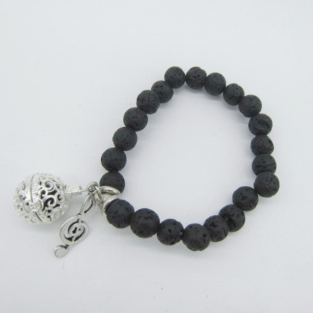 Lava Beads Bracelet with Charm | Music Charm