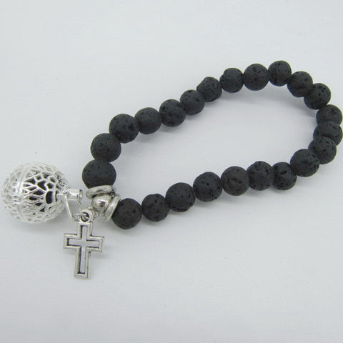 Lava Beads Bracelet with Charm | Cross Charm