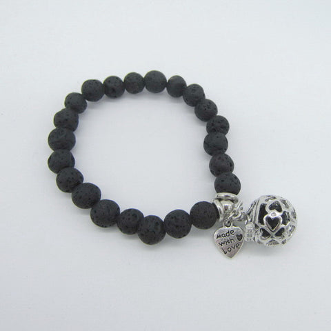 Lava Beads Bracelet with Charm | Heart Charm