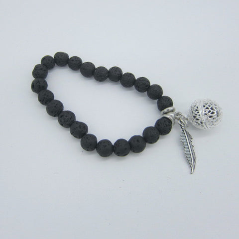 Lava Beads Bracelet with Charm | Leaf