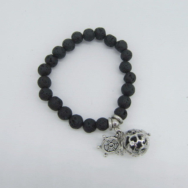 Lava Beads Bracelet with Charm | Turtle Charm - Sunstone Holistic Health and Healing