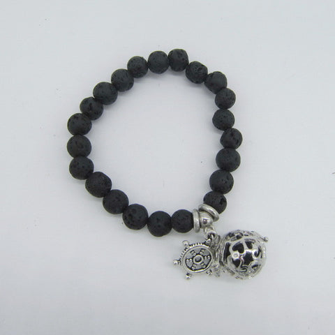 Lava Beads Bracelet with Charm | Turtle Charm