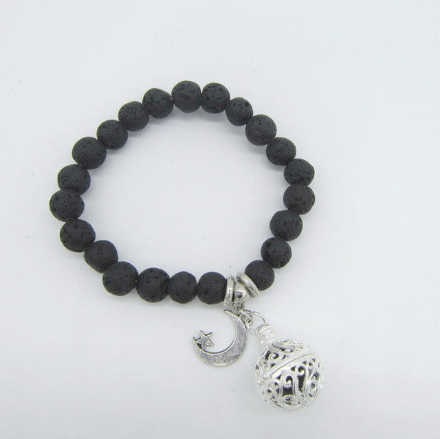 Lava Beads Bracelet with Charm | Moon Star