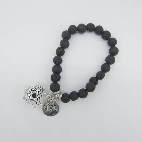 Lava Beads Bracelet with Charm | Tree of Life
