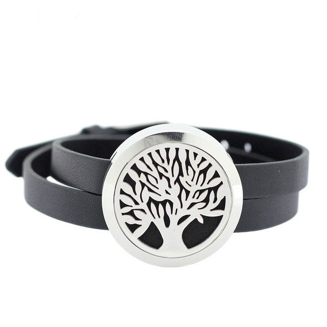 Leather Wrap Diffuser Bracelet | Tree of Life - Sunstone Holistic Health and Healing