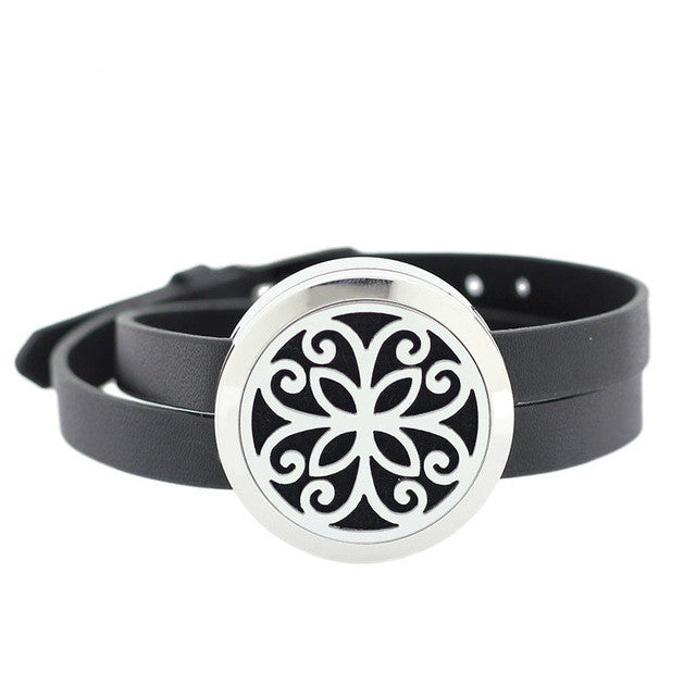 Leather Wrap Diffuser Bracelet | Flower