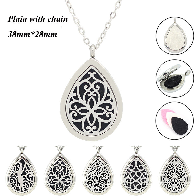 With chain as gift! high quality 316l stainless steel perfume locket pendant essential oil aromatherapy diffuser locket necklace - Sunstone Holistic Health and Healing