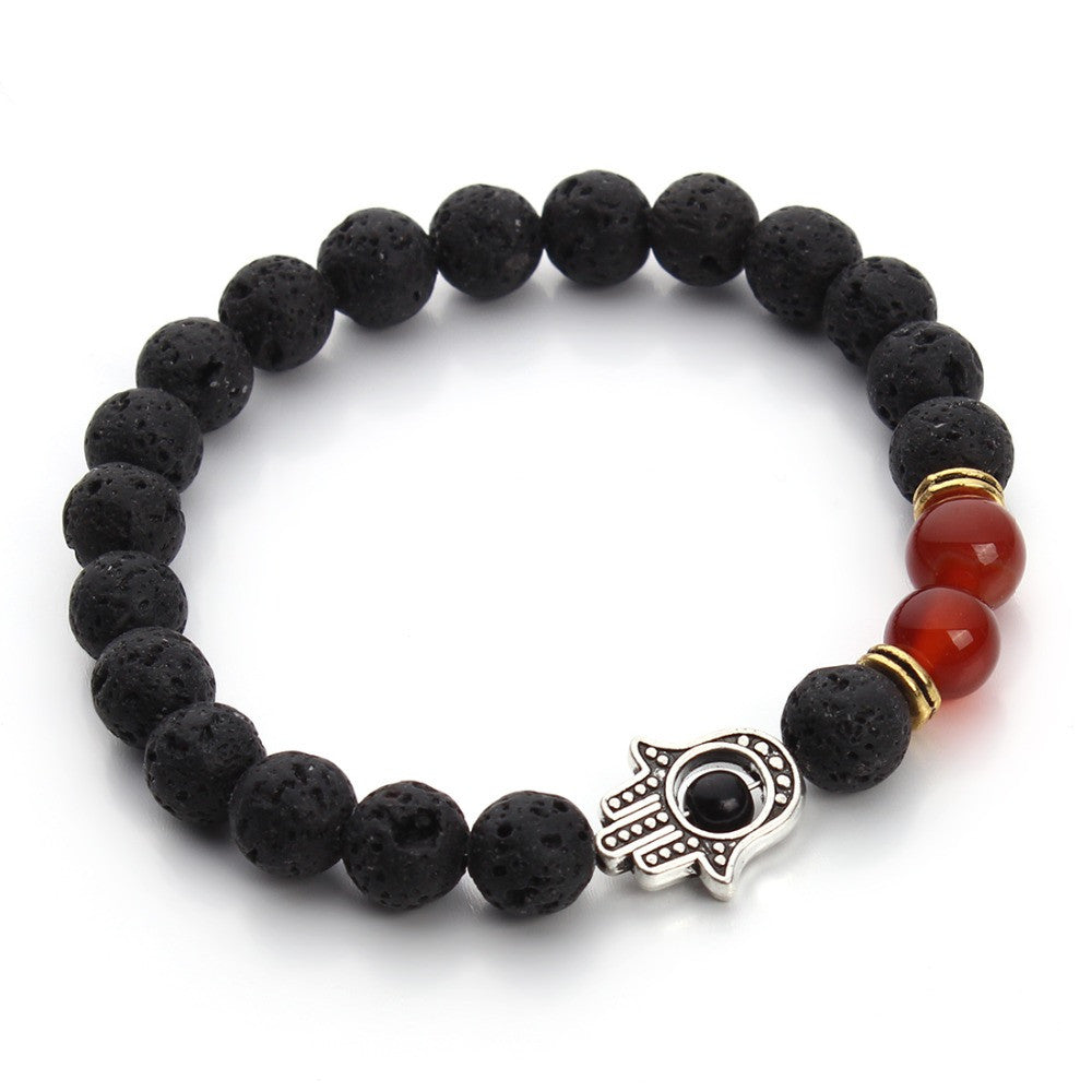 Black Lava Stone Yoga Energy Bracelet with Silver Hamsa Hand