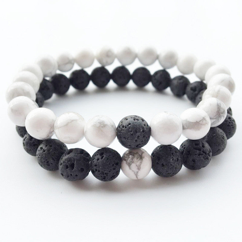 Lava Stone Diffuser Bracelet 2 Pcs / Set Black and White Bracelet - Sunstone Holistic Health and Healing