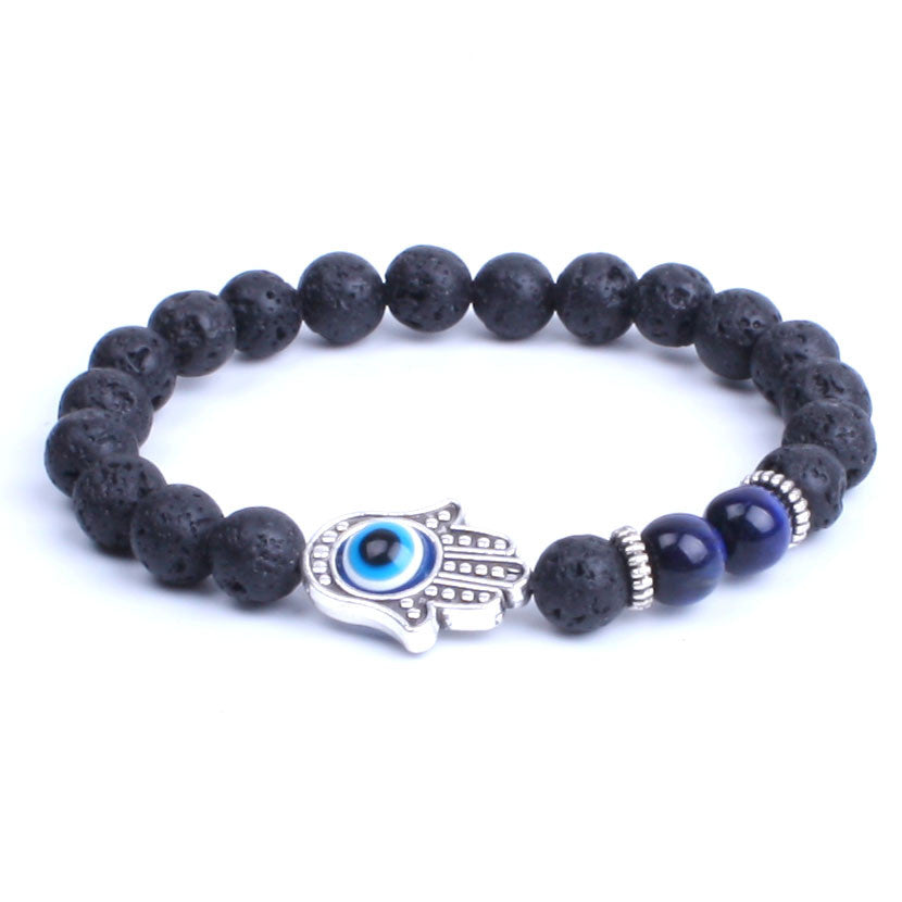 Lava Stone with Silver Hamsa and Evil Eye Bracelet