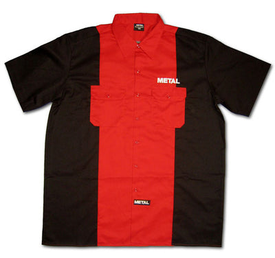 METAL Red/Black Collared Embroidered Shirt