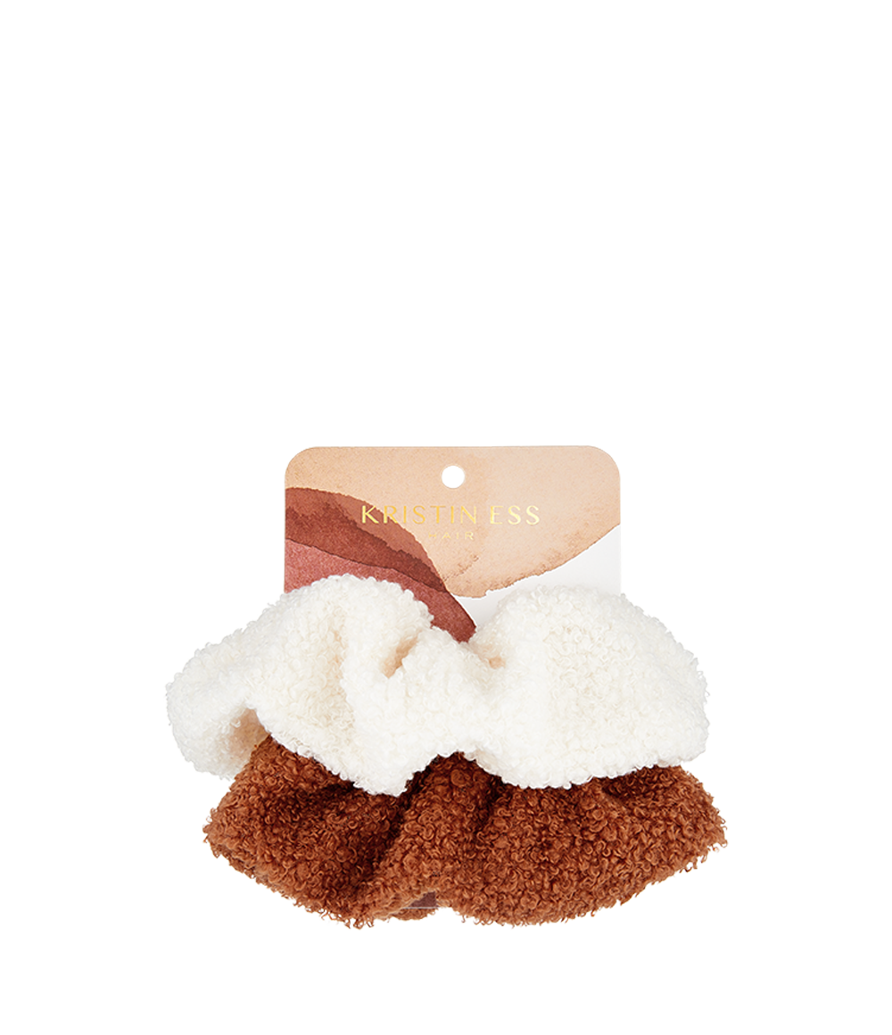 Cozy Scrunchie Set - White/Rust