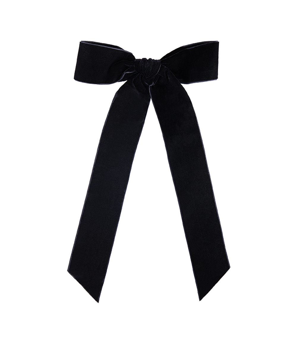 Velvet Bow Slide Black