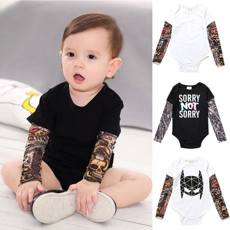 LITTLE ROCKER INFANT BABY BOY LONG SLEEVE TATTOO PRINT ROMPER
